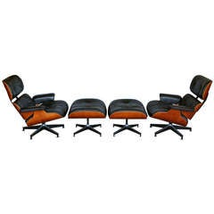 Pair Of Eames Lounge Chairs W/ Ottomans For Herman Miller