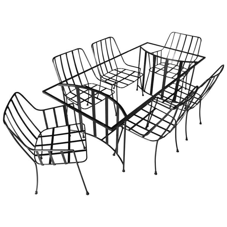 Iron Dining Set By Paul Laszlo For Pacific Iron For Sale