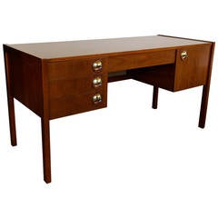 Caned Front Mahogany Desk