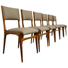 Set of Six Sculptural Italian Dining Chairs by Carlo de Carli