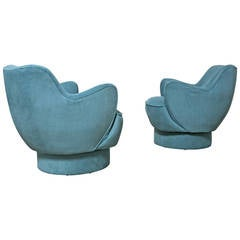Pair of Barrel Swivel Lounge Chairs by Vladimir Kagan for Directional