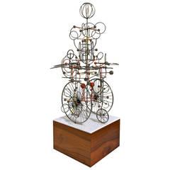 "Motorized ""Flying Machine"" Sculpture by Joseph Burlini"