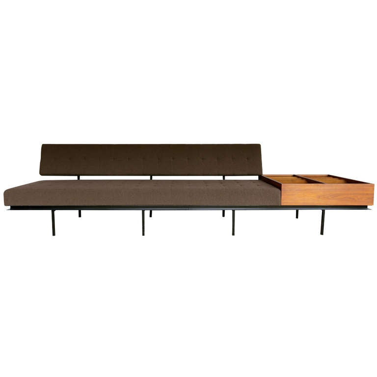 sofa with magazine rack by florence knoll at 1stdibs. Black Bedroom Furniture Sets. Home Design Ideas