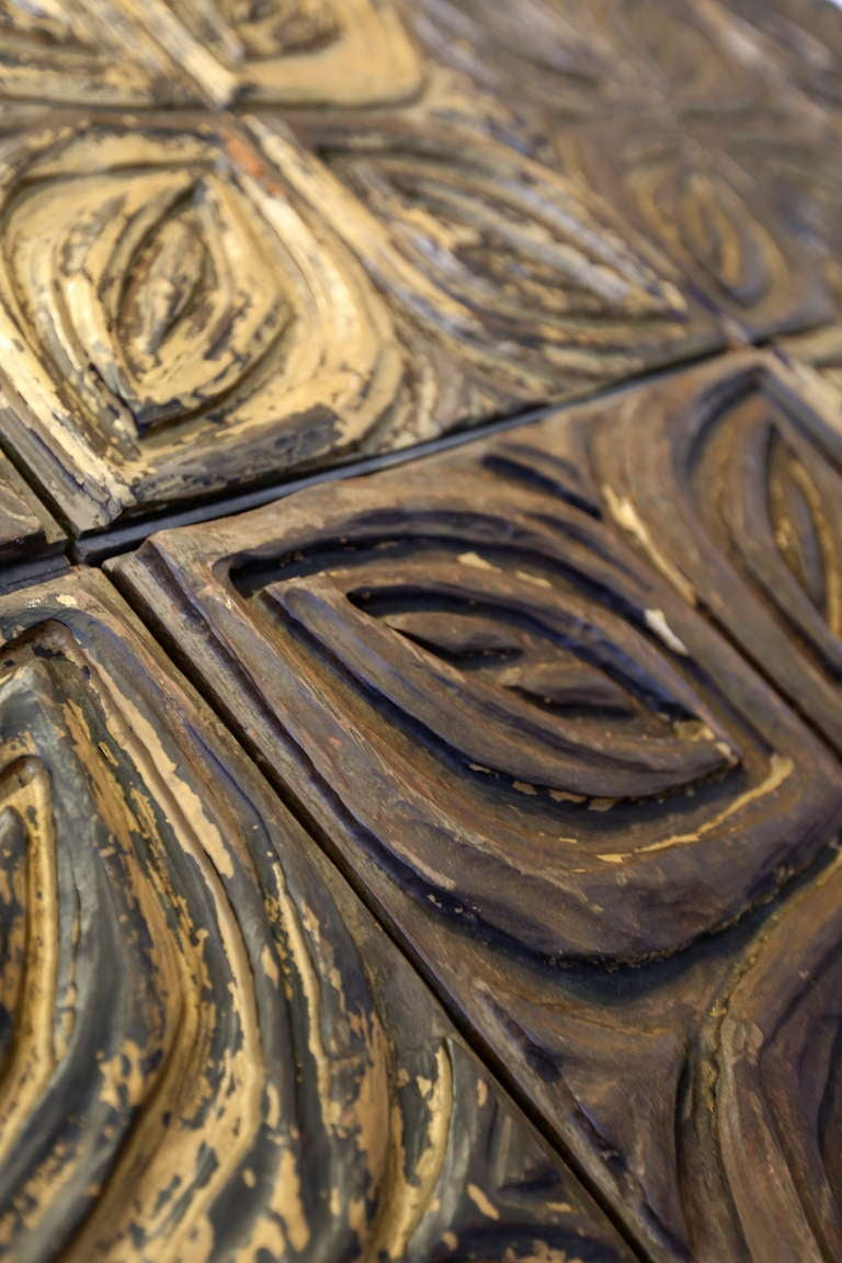 Large carved redwood wall sculptures or panels by evelyn
