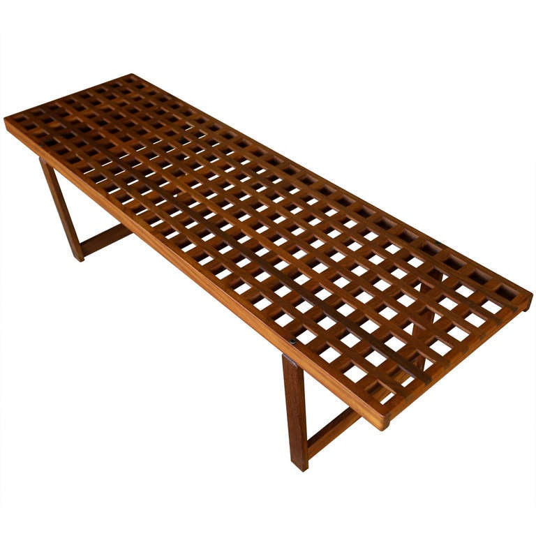 Solid Teak Lattice Bench Coffee Table At 1stdibs