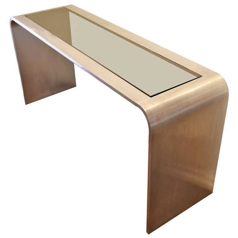 Brushed Stainless Steel Console Table By Leon Rosen At 1stdibs