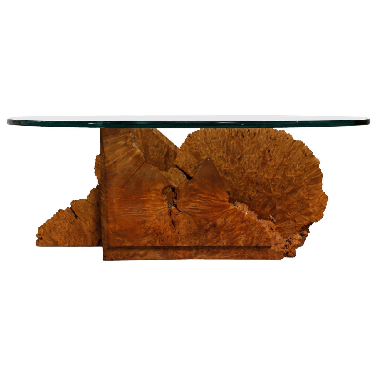 Studio crafted burl wood coffee table for sale