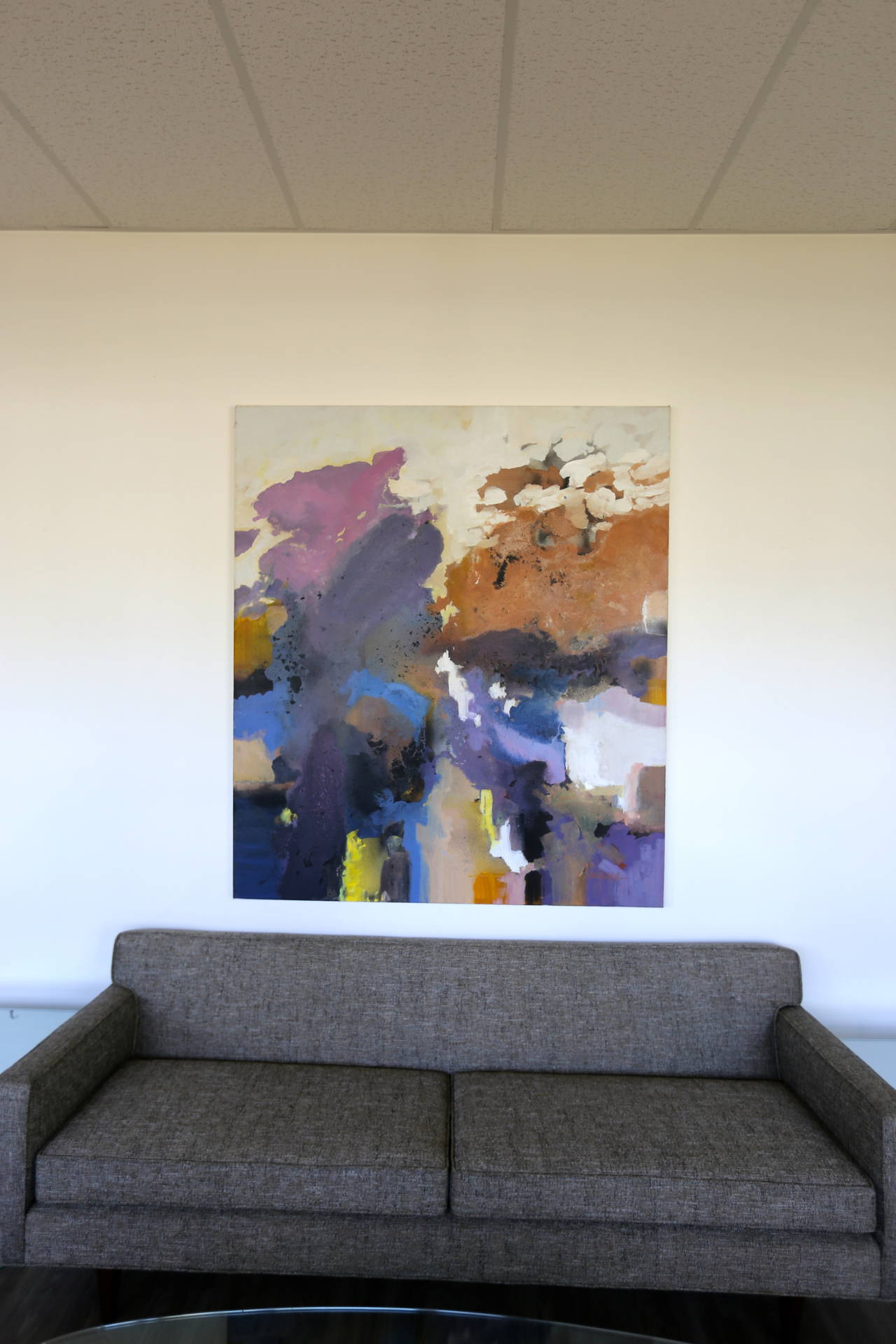Large-scale signed abstract painting.