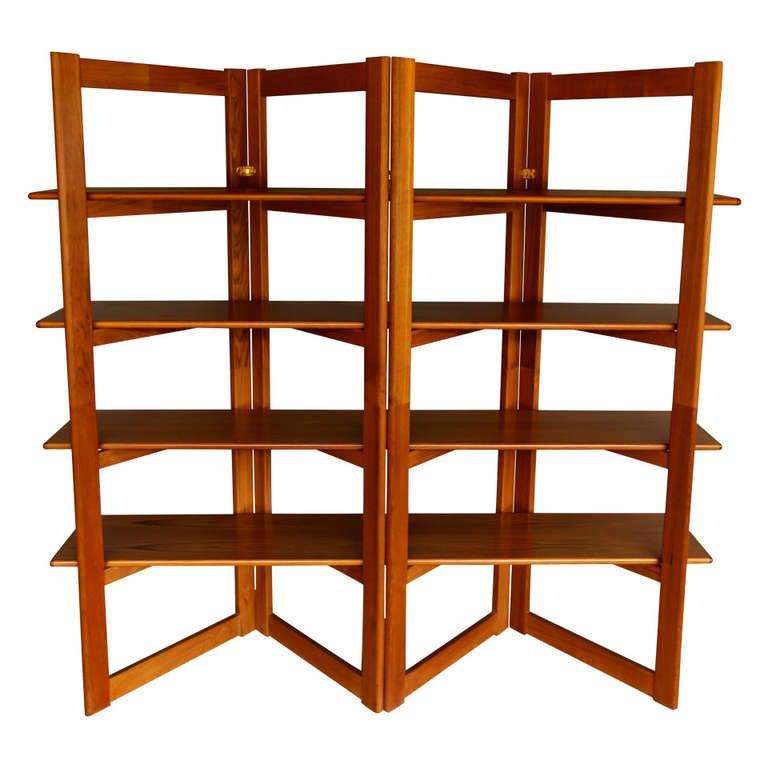 Danish Teak Bookcase / Room Divider At 1stdibs