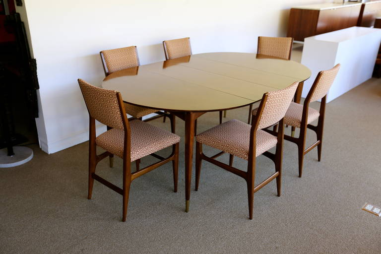Dining Set By Gio Pont For Singer And Sonsi. Table With Two Leaves And Six