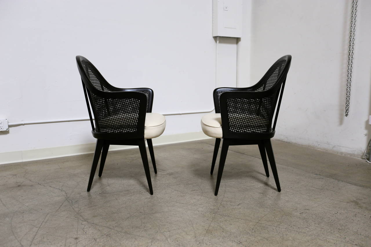 Pair of Caned Back Armchairs by Harvey Probber at 1stdibs