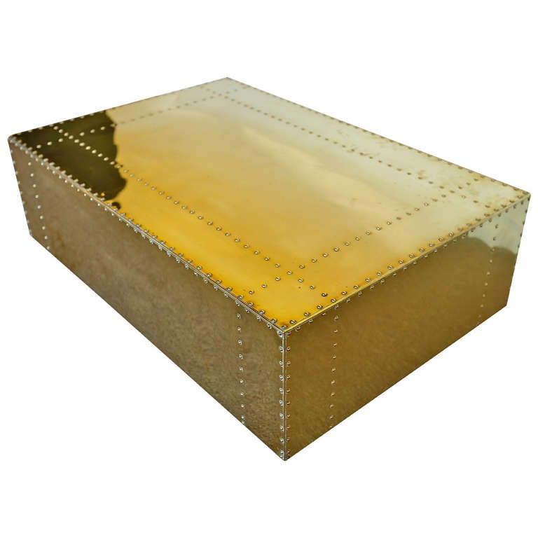 Studded brass clad coffee table by sarreid ltd at 1stdibs for Coffee table with studs