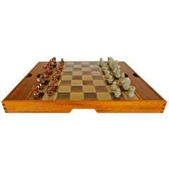 Danish Rosewood & Ceramic Chess Set