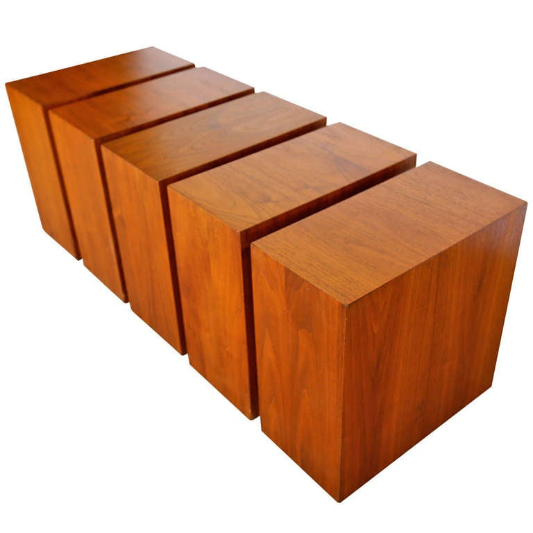 Walnut Cubes Coffee Table At 1stdibs
