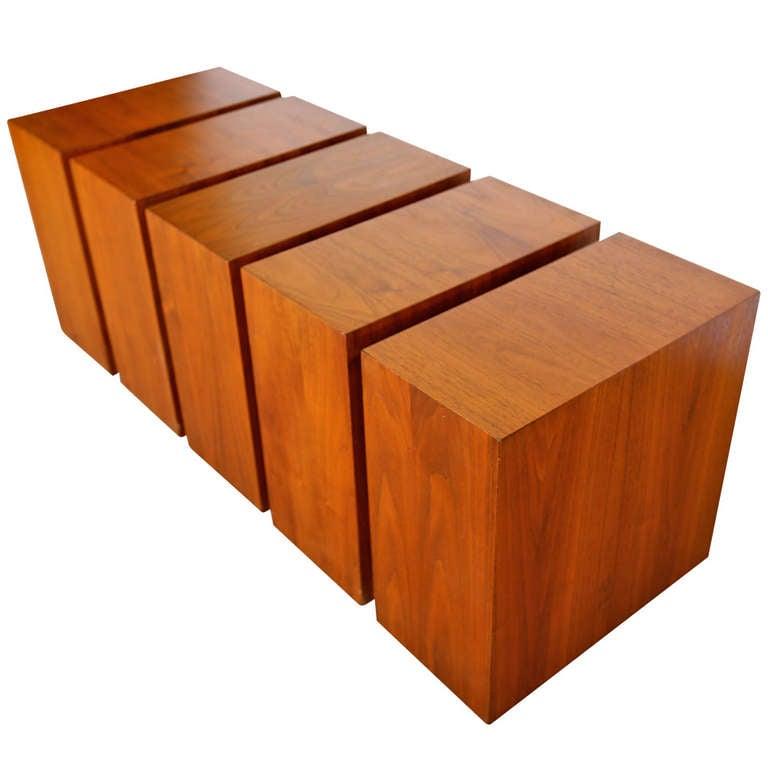 walnut cubes coffee table at 1stdibs. Black Bedroom Furniture Sets. Home Design Ideas