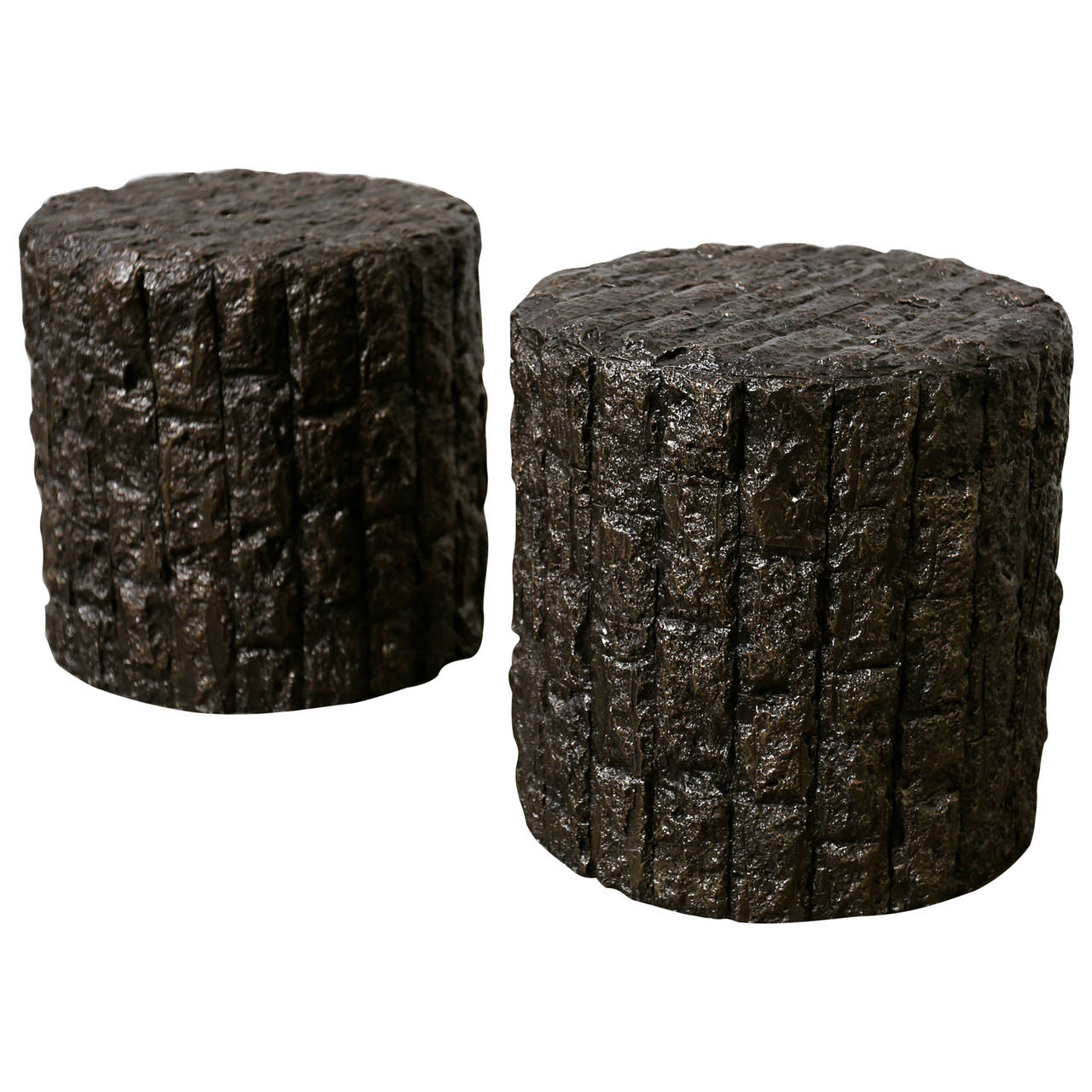 Pair of brutalist drum side tables at 1stdibs for Drum side table