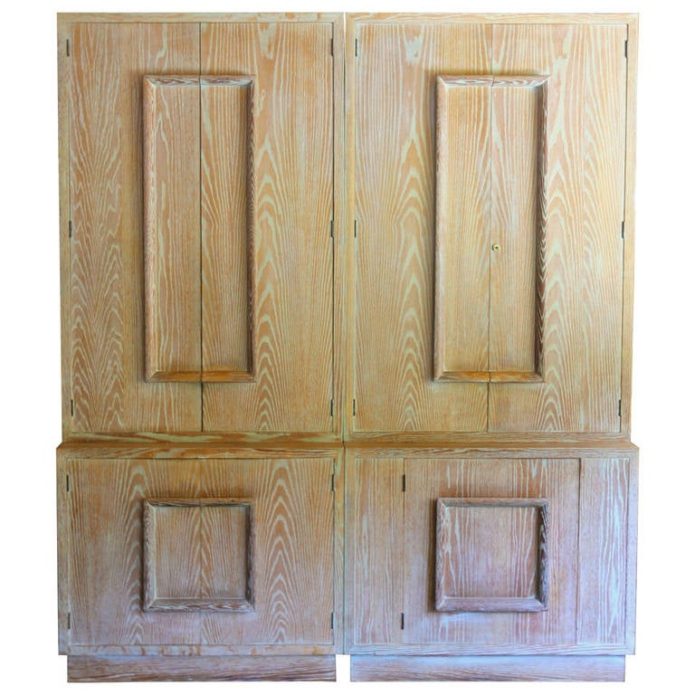 Cerused French Oak Kitchens And Cabinets: Pair Of Signed James Mont Cerused Oak Cabinets At 1stdibs