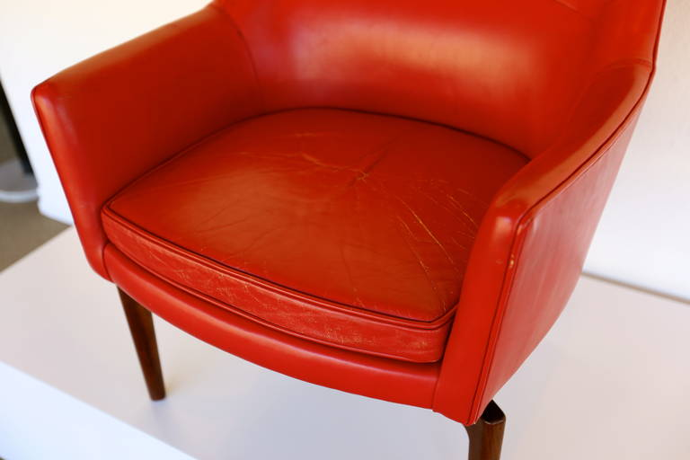 items similar to high back leather swivel lounge chair by jens risom
