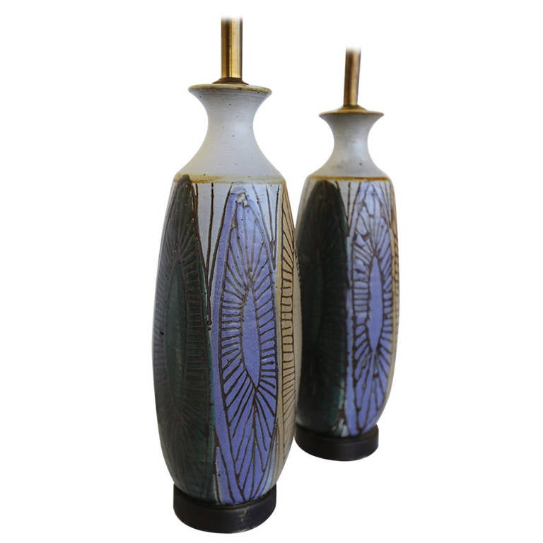 Pair of Ceramic Lamps by Raul Coronel