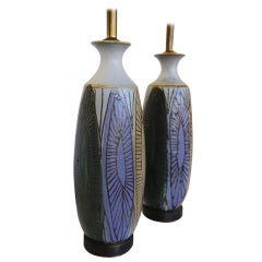 Pair of Ceramic Lamps by Raul Coronel
