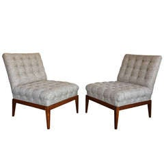 Pair of Tufted Slipper Chairs by Kipp Stewart
