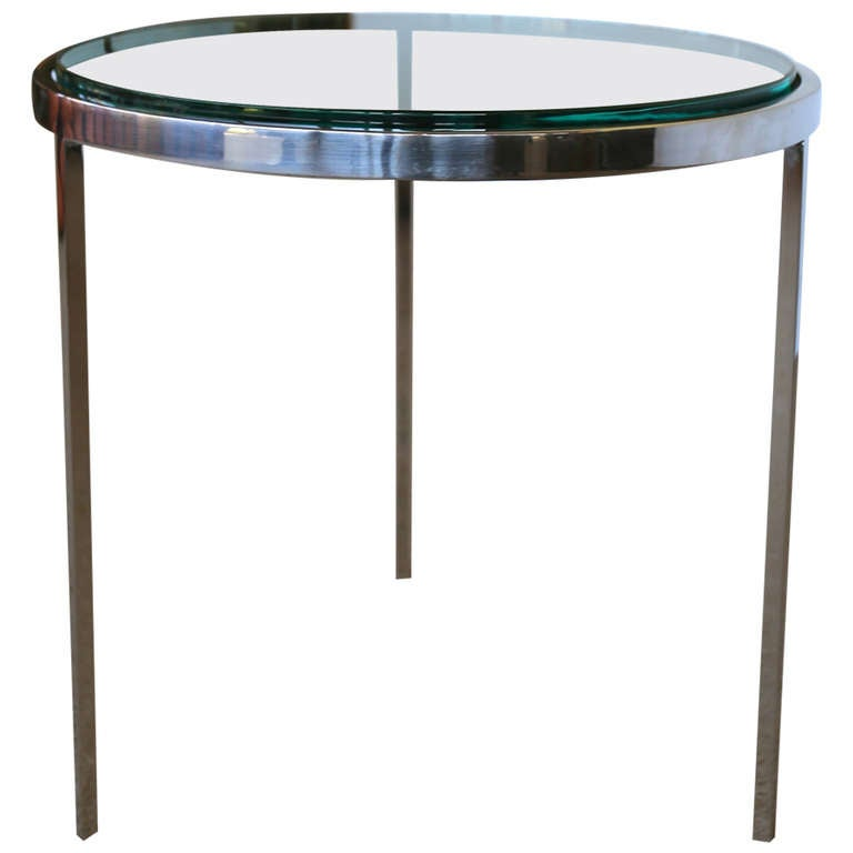 Round Chrome And Glass Side Table At 1stdibs