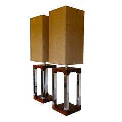 Large Scale Solid Walnut And Chrome Table Lamps