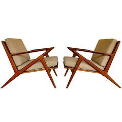 """Pair of Teak """"Z"""" Lounge Chairs by Poul Jensen for Selig of Denmark"""