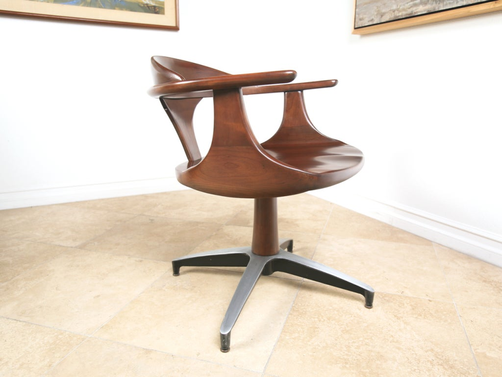 Mid century solid wood dining table and swivel chairs at for Solid wood dining table sets