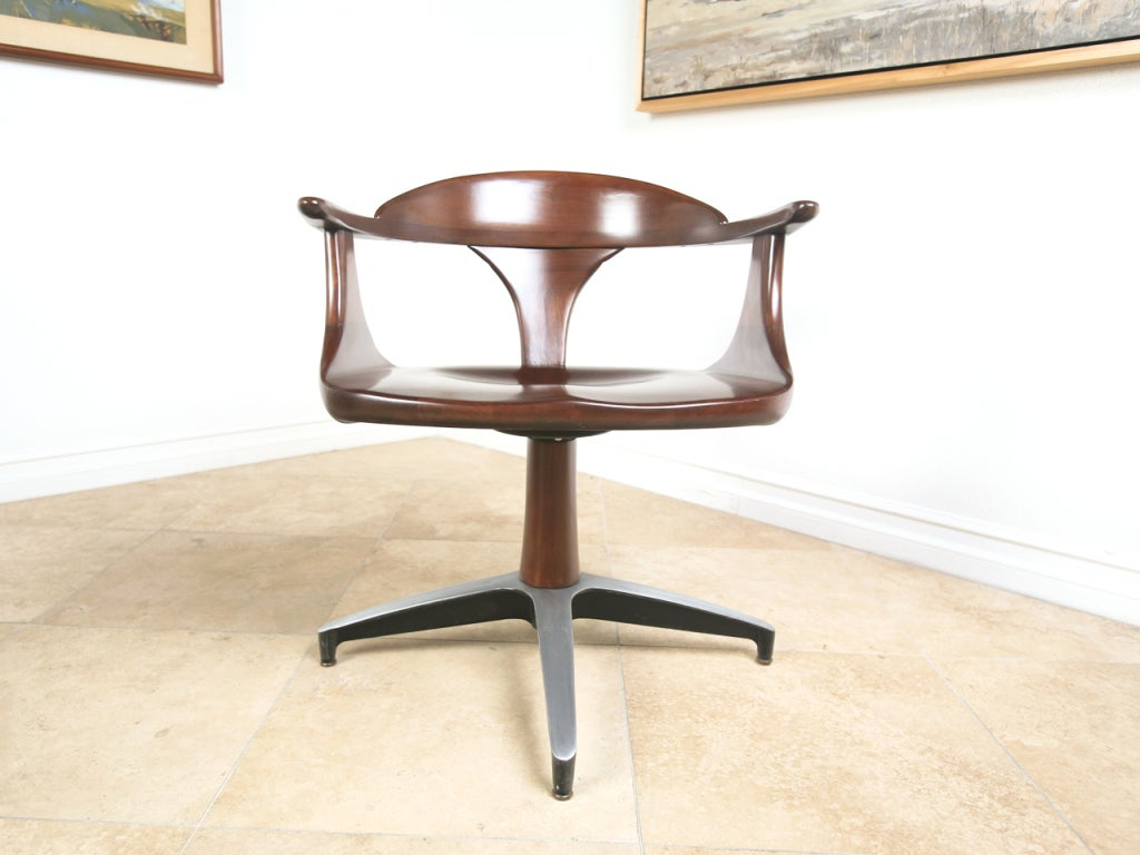 Mid century solid wood dining table and swivel chairs at for Solid wood dining room table and chairs