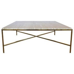 "Solid Brass and Marble ""X"" Base Square Coffee Table"