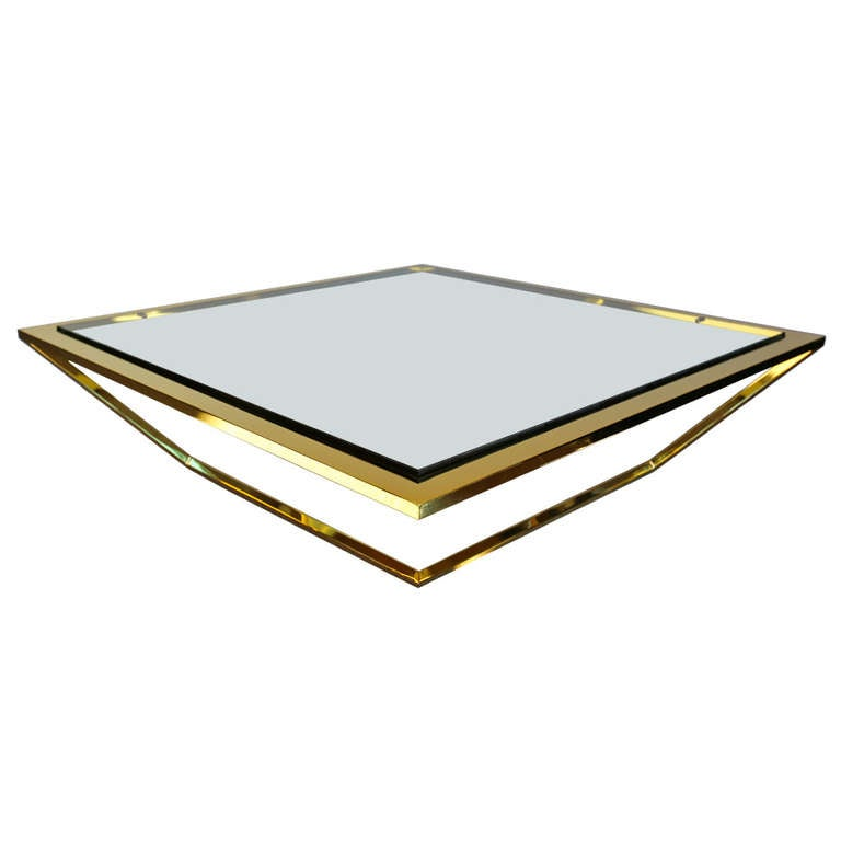 Cantilevered Brass And Glass Coffee Table At 1stdibs