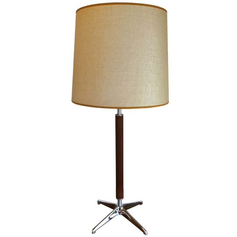 Walnut And Chrome Table Lamp By Lightolier For Sale At 1stdibs
