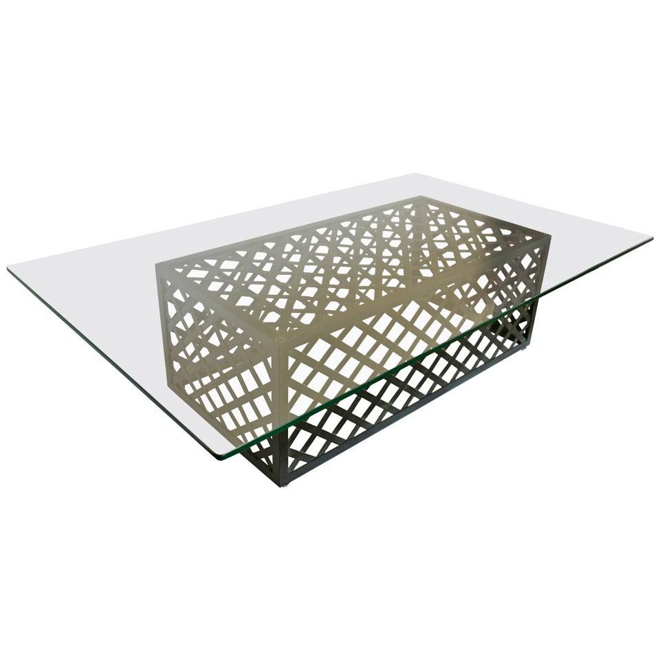 Lattice Framed Coffee Table Attributed To Salterini At 1stdibs