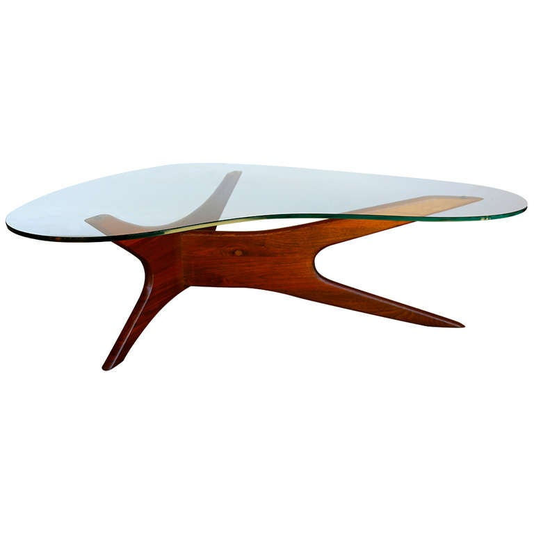 Sculptural Walnut And Glass Coffee Table By Adrian Pearsall At 1stdibs