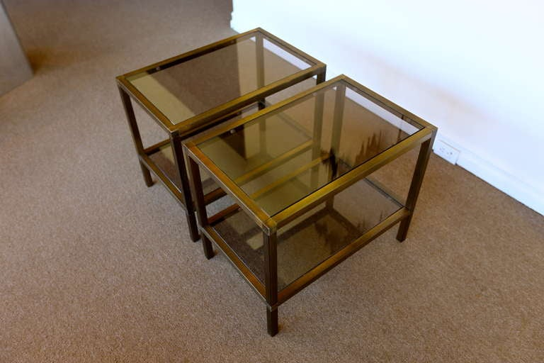 Pair Of Brass And Smoked Glass Side Tables By Mastercraft