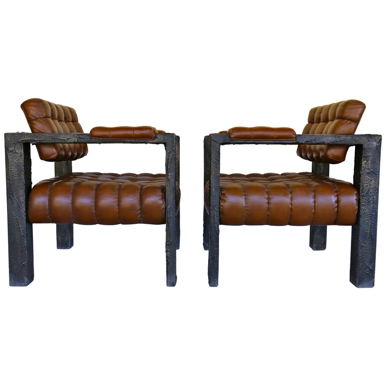 Custom Sculpted Lounge Chairs by Paul Evans Signed PE 71