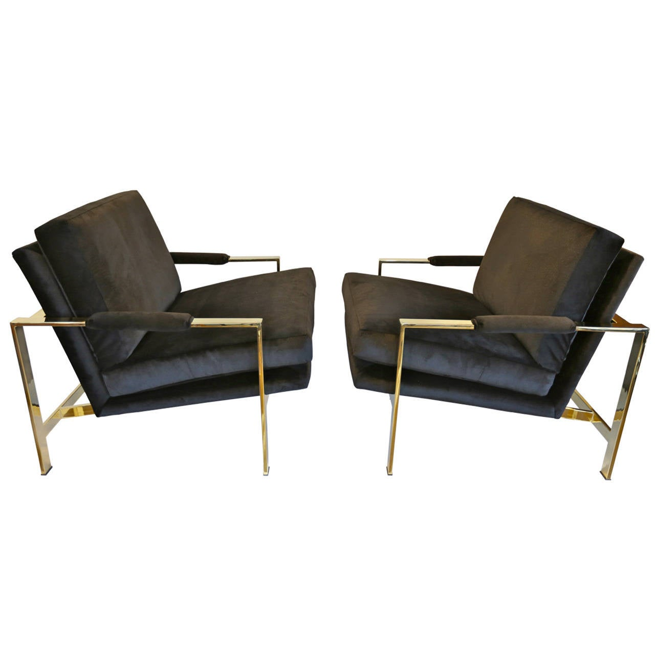 Mirror Polished Brass and Velvet Lounge Chairs by Milo Baughman