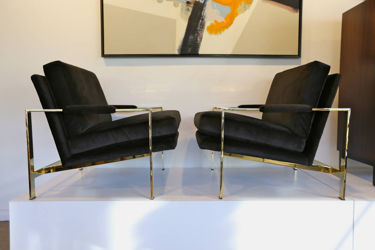 Mirror Polished Brass and Velvet Lounge Chairs by Milo Baughman 5