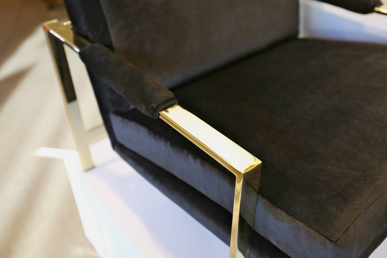 20th Century Mirror Polished Brass and Velvet Lounge Chairs by Milo Baughman