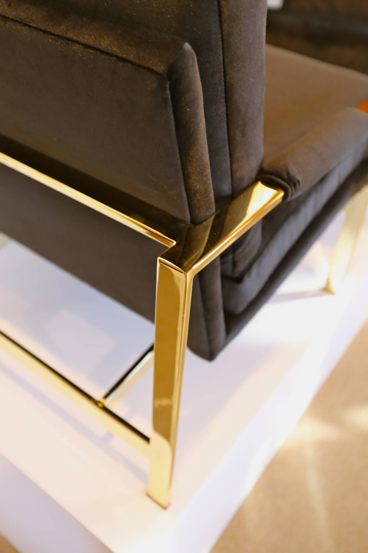 Mirror Polished Brass and Velvet Lounge Chairs by Milo Baughman 3