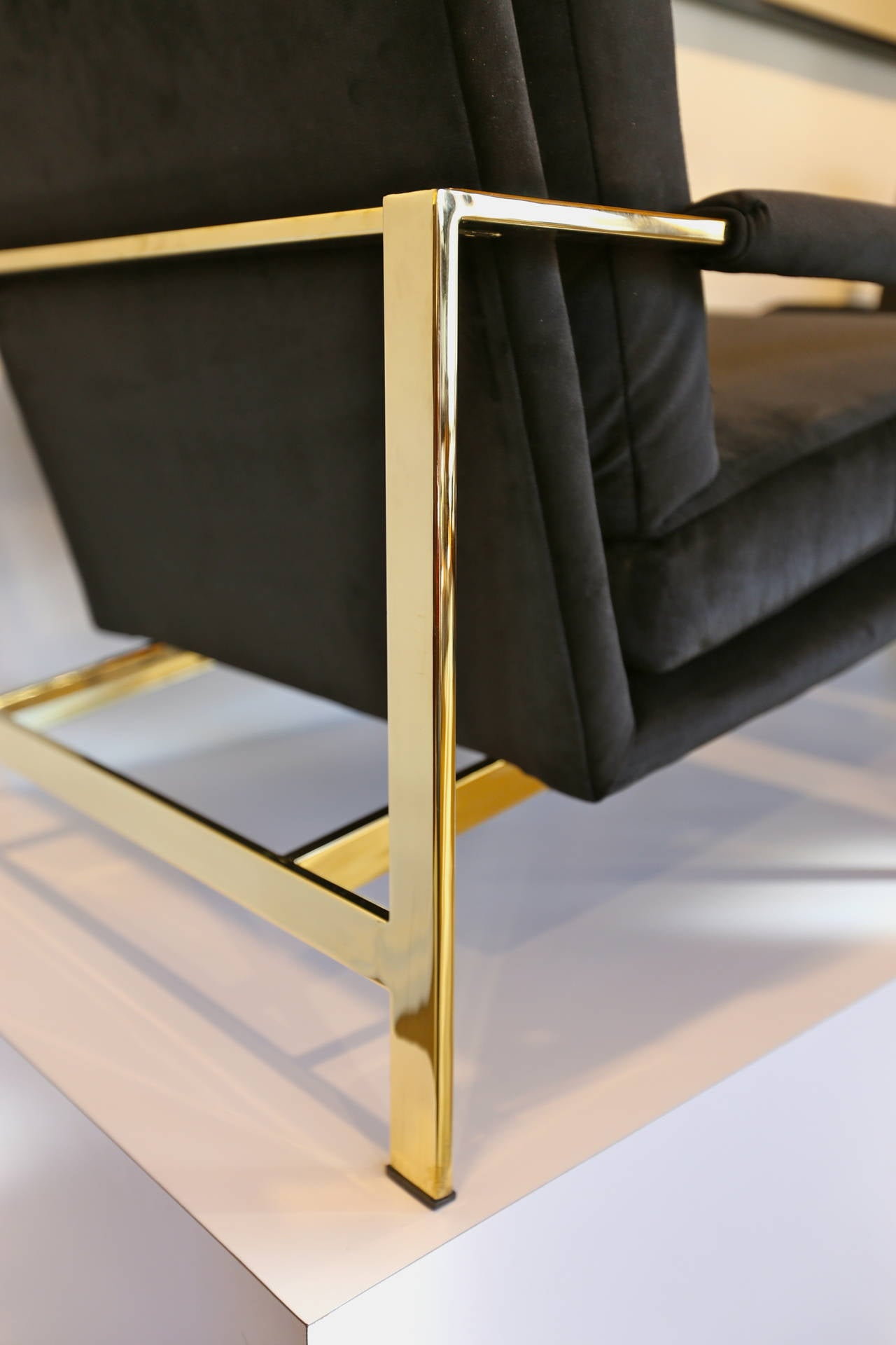 Mirror Polished Brass and Velvet Lounge Chairs by Milo Baughman 4