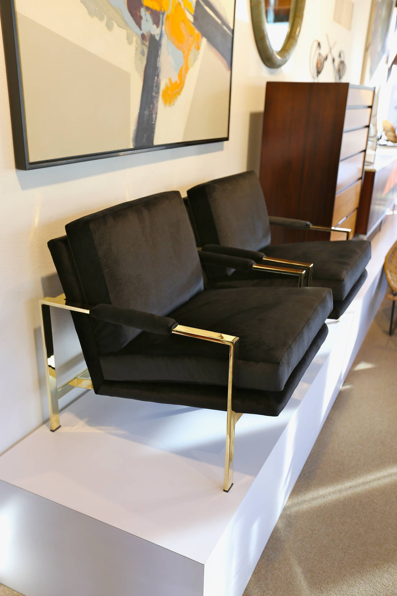 Mirror Polished Brass and Velvet Lounge Chairs by Milo Baughman In Excellent Condition In Costa Mesa, CA