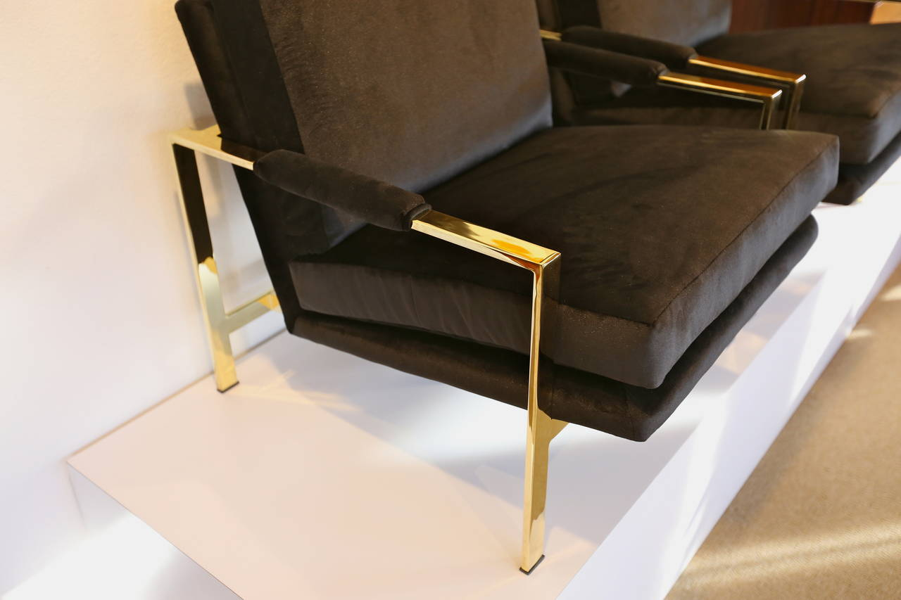 Mirror Polished Brass and Velvet Lounge Chairs by Milo Baughman 1