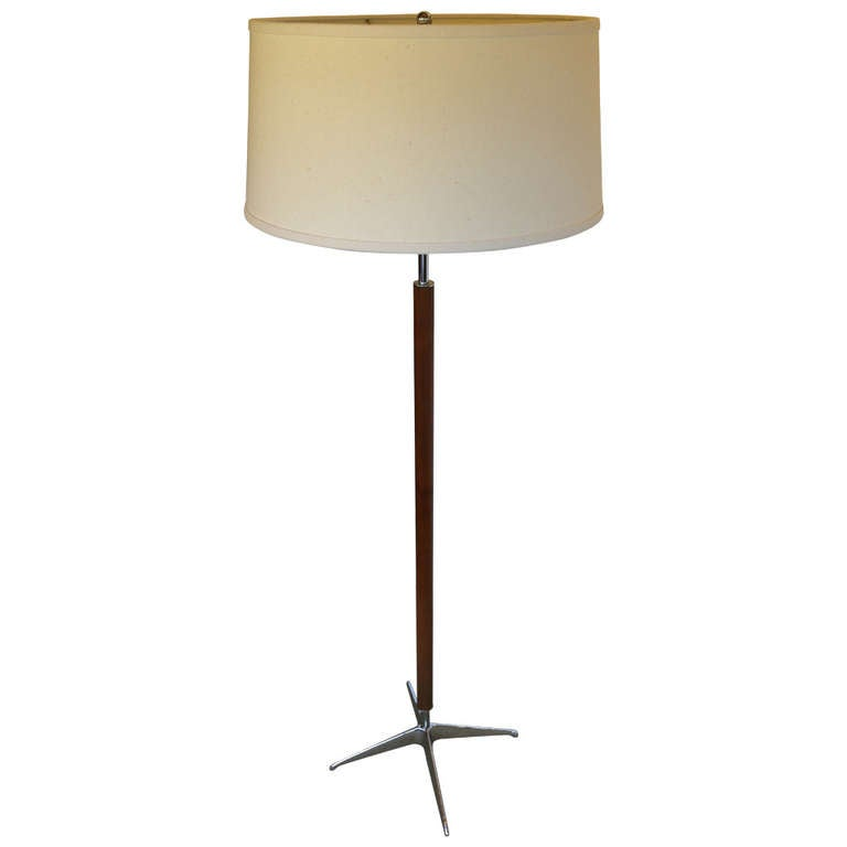 Walnut And Chrome Floor Lamp By Lightolier At 1stdibs