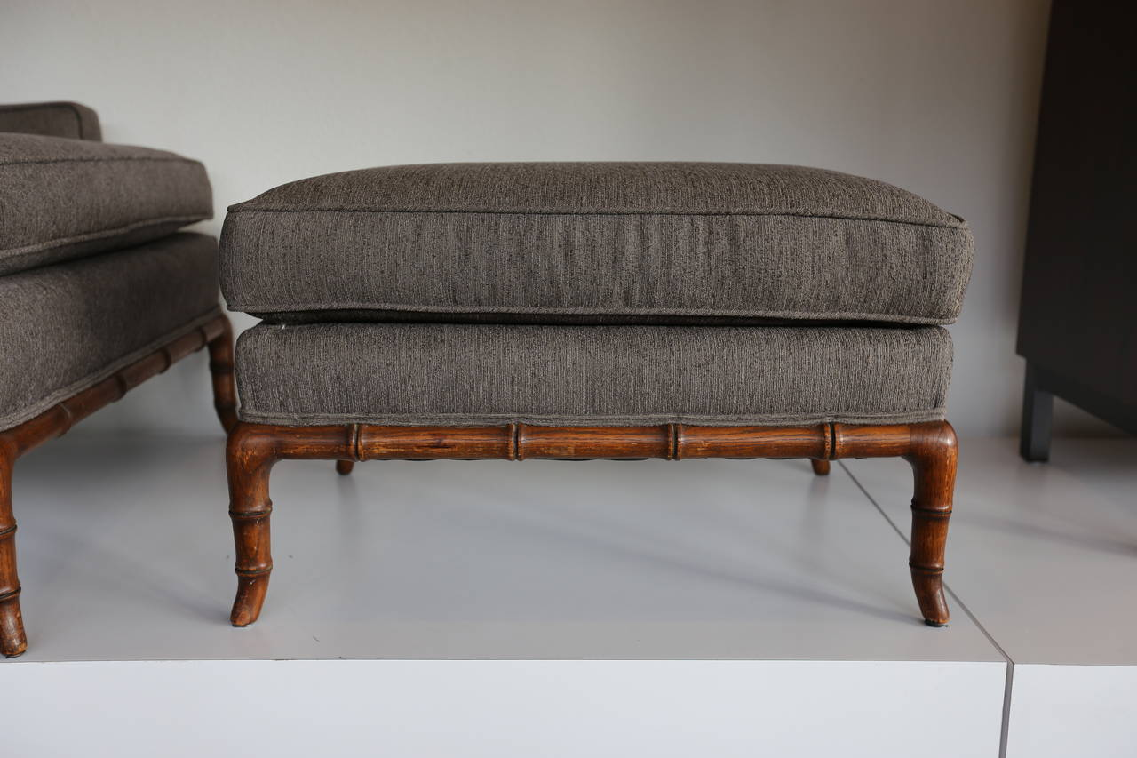 Faux Bamboo Lounge Chair And Ottoman At 1stdibs
