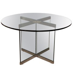 Round glass dining table by LEON ROSEN for PACE COLLECTION