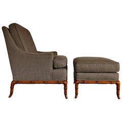 Faux Bamboo Lounge Chair and Ottoman