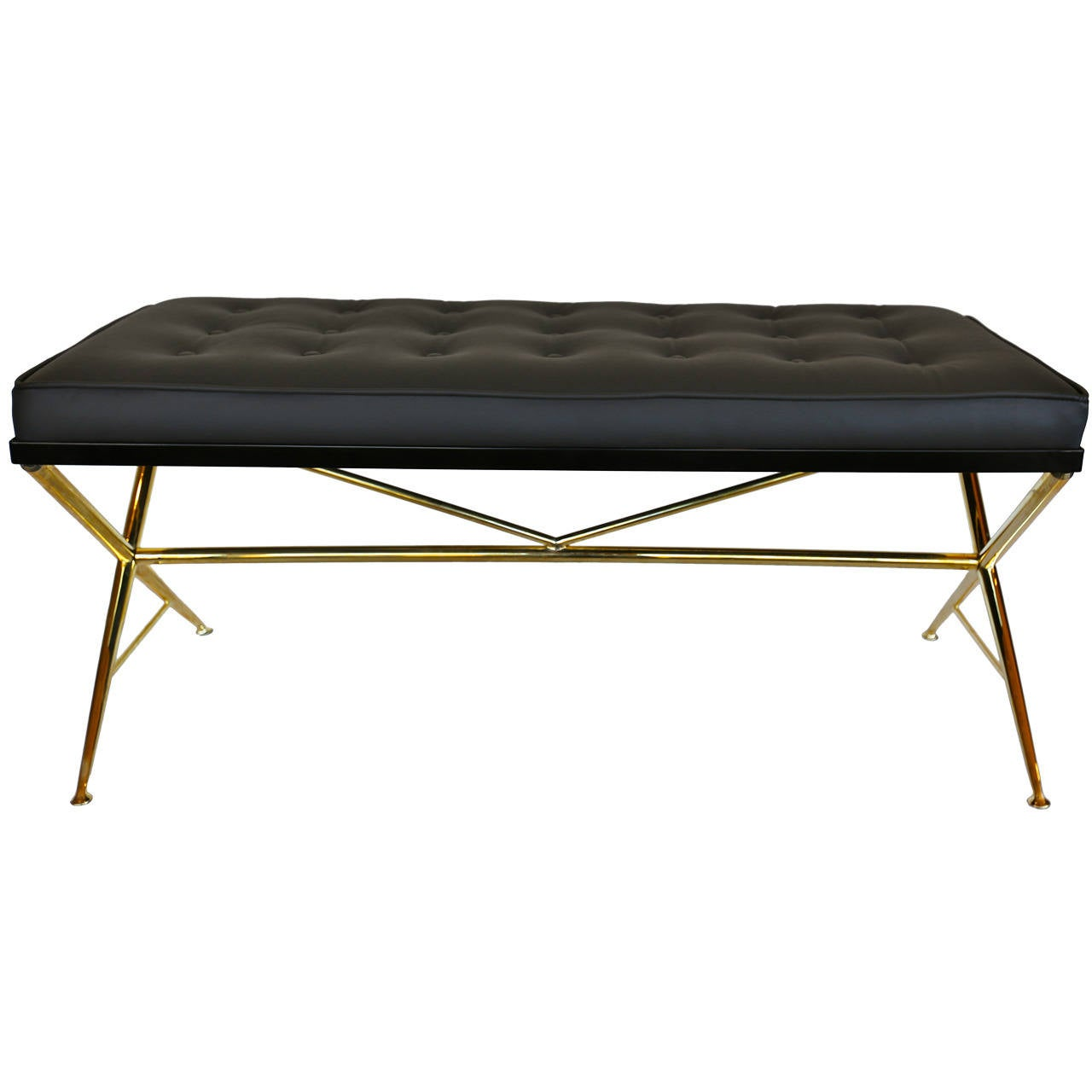 Italian Brass And Leather X Base Bench At 1stdibs