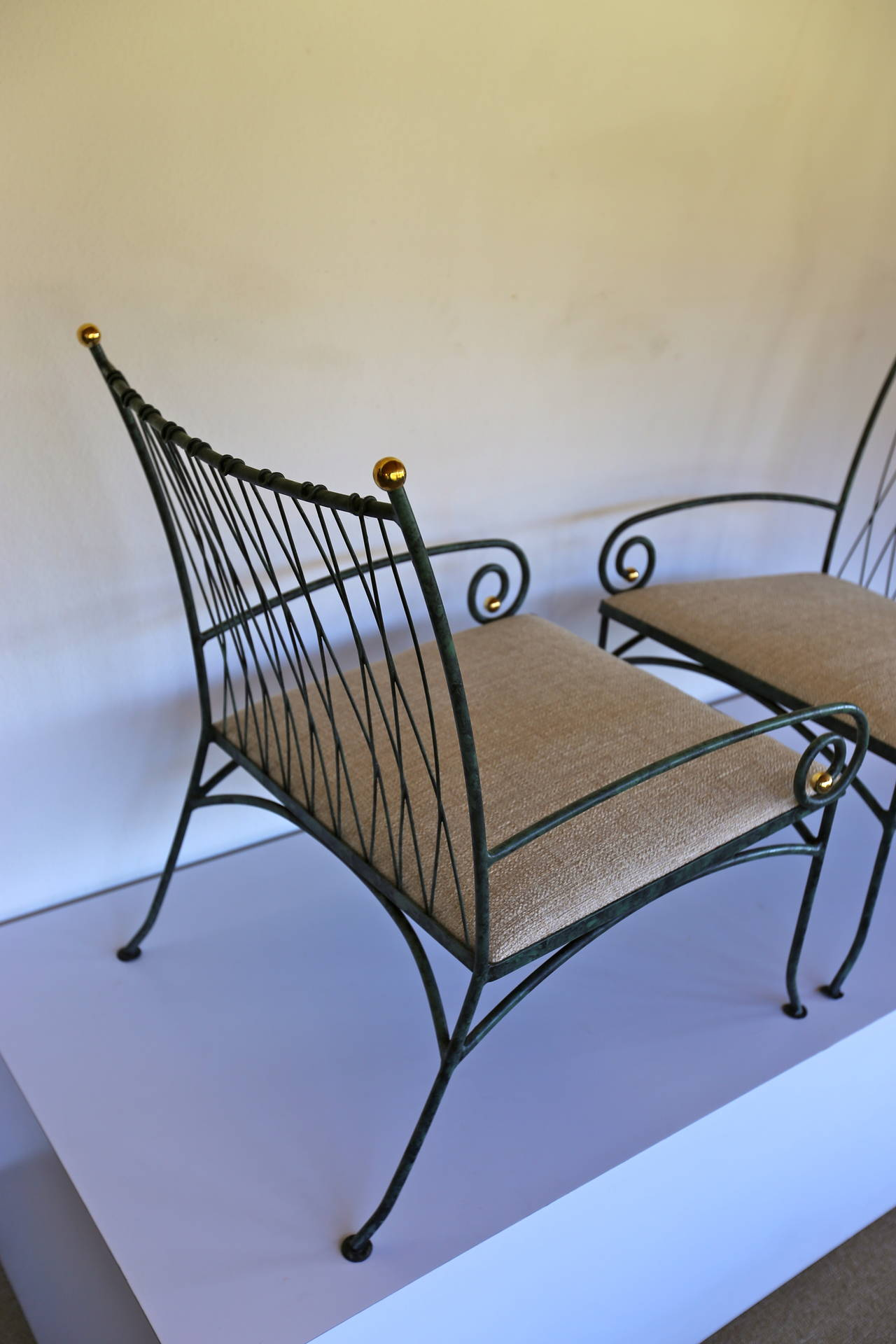 Pair of Verdigris Scroll Arm Iron Lounge Chairs at 1stdibs